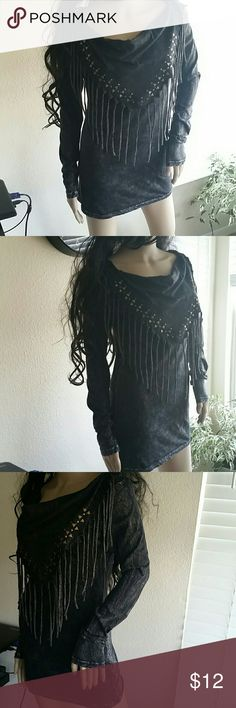 American age studded  Fringed top size,S Black mineral wash studded Fringed long sleeve top by American Age size S in great condition 100 % Cotton American Age Tops Tees - Long Sleeve