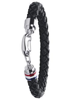 Armband, »Men´s Casual, 2700510«, Tommy Hilfiger Jewelry. Aus schwarzem Leder, mit Edelstahl und Emaille kombiniert, ca. 22,5 cm lang. Lieferung in einer TOMMY-HILFIGER-Verpackung....
