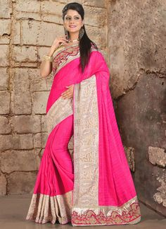 Shop latest online sarees collections at best price. Order this orphic embroidered and patch border work classic saree for party and wedding.