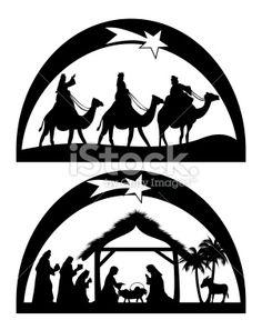 Crèche de Noël, Noël, Silhouette, Jésus Christ, Christianisme Illustration vectorielle libre de droits