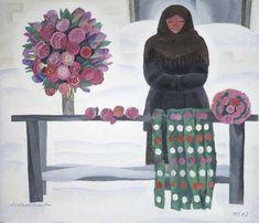 Яблонская Татьяна Ниловна (1917-2005) «Бумажные цветы» 1967
