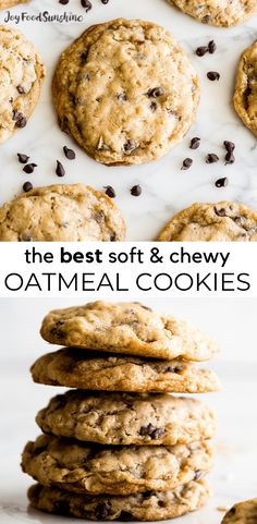 The BEST Oatmeal Cookie Recipe - crispy edges with soft and chewy centers, these oatmeal cookies are easy to make (no chilling, simple ingredients) and out-of-this-world delicious. Add your favorite mix-ins for an extra special twist! Soft Chewy Oatmeal Cookies, Oatmeal Chocolate Chip Cookie Recipe, Healthy Oatmeal Cookies, Oatmeal Cookie Recipes, Cookies Soft, Simple Oatmeal Cookie Recipe, Best Oatmeal Recipe, Easy To Make Cookies, Baking Chocolate