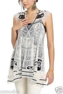Moulinette Soeurs: white black lace texcoco tunic