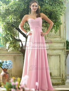 Ruched A-line Chiffon Sweetheart Floor-length Draped Light Pink Bridesmaid Dresses - US $105.99