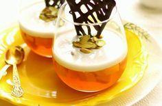 ... based dessert with fresh mangoes, coconut milk & pineapple jelly