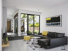 Duy Huynh on Behance Minimal House Design, Modern Villa Design, Unique House Design, New Home Designs, Home Design Plans, Home Interior Design, Living Room Plan, Living Room Designs, 3 Storey House Design