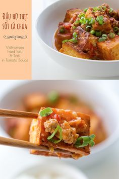 Vietnamese Fried Tofu & Pork in Tomato Sauce (Dau Hu Thit Sot Ca Chua - Vietnamese recipes - Vietnamese Vietnamese Pork, Vietnamese Cuisine, Vietnamese Recipes, Asian Recipes, Pork Recipes, Tofu And Tomato Recipe, Tomato Sauce, Burmese Food, Fried Tomatoes
