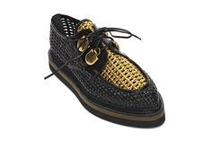 Best of Resort 2016 - Alexander McQueen black and gold woven leather creepers