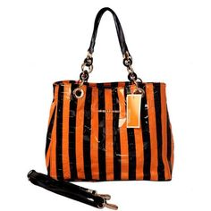 Perfect Michael Kors Striped Embossed Leather Large Orange Satchels, Perfect You