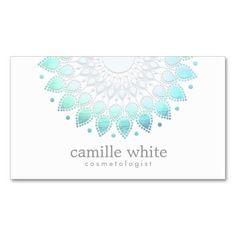 Blanco azul claro del adorno elegante del círculo tarjetas de visita