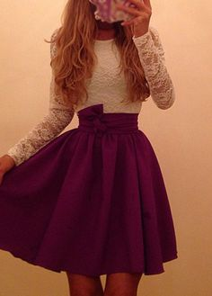 Lace Patchwork Long Sleeve A Line Dress It's so pretty!!!!!!!!!!!!!!