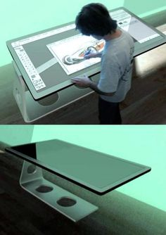 81×37″ digital blackboard, virtual keyboard and mouse on a touchscreen surface, 19″ monitor, built-in speakers, markers, tape, rulers, a digital camera, external hard drive, ... This touch screen design table has it all. I think I want one :)  Multi-function design board by Michael Powers (2009 prototype).