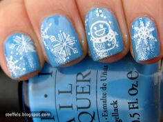 Winter nail art...I need to try using a Konad. I love all the different designs!
