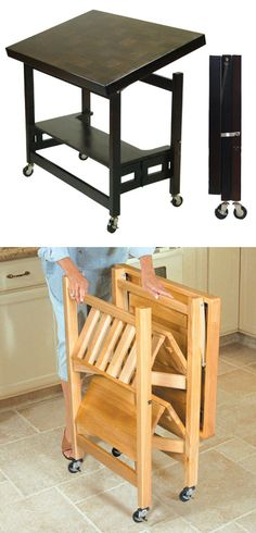 Oasis Concepts' folding furniture To Me it looks like a kitchen rolling cart, which could be opened for extra prep space as needed.