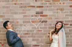 Wedding photography against brick wall Wedding Images, Brick Wall, High Neck Dress, Lily, Wedding Photography, Romantic, Guys, Photos, Dresses