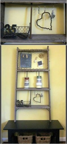 40 Wooden Ladder Repurposing Ideas That Add Farmhouse Charm To Your Home, Diy Abschnitt, Old Wooden Ladders, Old Ladder, Rustic Ladder, Ladder Decor, Rustic Shelves, Porch Decorating, Decorating Ideas, Creative Decor, Frames On Wall