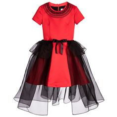 Junior Gaultier Red Silk Satin Dress with Black Chiffon Over-Skirt at Childrensalon.com