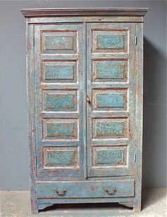 Antique Pine Georgian Blue Painted Cupboard with Panels