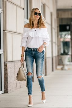 Fashion Jackson, Dallas Blogger, Fashion Blogger, Street Style, White Off-the-Shoulder Bow Ruffle Top, Zara Ripped Skinny Jeans, Christian Louboutin Iriza dOrsay White Pumps, Celine Belt Handbag