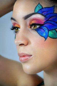 3 Edc Makeup Make Up Maquillaje Hada Maquillaje Infantil Peacock Face Painting, Face Painting Designs, Body Painting, Simple Face Paint Designs, Face Painting Flowers, Adult Face Painting, Face Painting Tutorials, Make Up Art, Eye Make Up