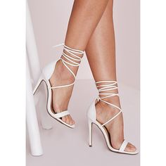 Missguided Lace Up Barely There Heeled Sandals  Croc (242310 PYG) ❤ liked on Polyvore featuring shoes, sandals, heels, white, heeled sandals, white sandals, white heeled sandals, wrap around sandals and high heels sandals