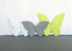 Wall Butterflies Lime Green Grey White  Upcycled by BeautiSHE