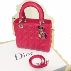Lady Dior Medium Red Lambskin SHW Like new condition, worn twice. Originally bought in Paris (please see picture of receipt above). 100% authentic. Includes removable long strap, dust bags, box, and ribbon. Comes from pet-free & smoke-free home. I am unable to provide retail price as I purchased this in another currency. Dior Bags Satchels