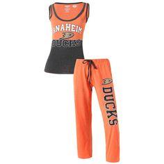 Anaheim Ducks Concepts Sport Women's Quest Top and Pants Set - Orange/Charcoal - $49.99