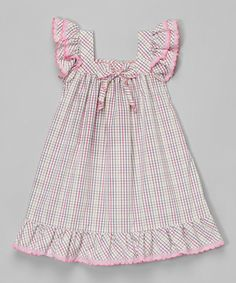 Look at this Lavender Gingham Angel-Sleeve Dress - Infant & Toddler on #zulily today!