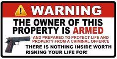 "Owner is Armed Warning  3""x6"" 2nd Amendment Guns Firearm Window Sticker Decal #2Guys"