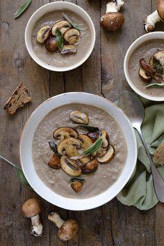 Cream of Mushroom Soup - Soup Recipe - A Sun Lunch - Cream of mushroom soup (vegan soup) - Vegetarian Vegetable Soup, Vegetable Noodle Soup, Vegan Soup, Vegetarian Recipes, Healthy Recipes, Healthy Brunch, Healthy Soup, Autumn Brunch Recipes, Brunch Casserole