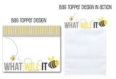 bag toppers, favor bag toppers, bee baby shower, what will it bee? bumble bee shower via Party Box Design