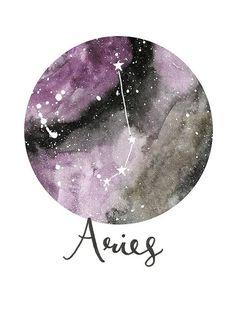 Aries Zodiac Constellations Archival Art Print by sarahfrancesart