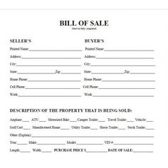 Printable Sample Bill Of Sale Form