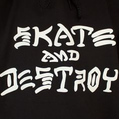 Thrasher Skate and Destroy Logo | THRASHER SKATE AND DESTROY SWEAT HOOD BLACK
