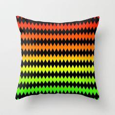 Zig Zag - Orange-Yellow-Green Throw Pillow by Lyle Hatch - $20.00