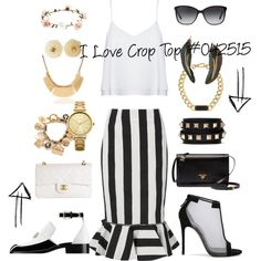 I Love Crop Top #042515 by fashionhuntergirl on Polyvore featuring Alice + Olivia, Kaelen, Casadei, Chanel, Prada, Valentino, MARC BY MARC JACOBS, Oasis, MANGO and Bulgari