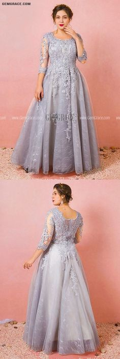 10% off now Custom Grey Modest Round Neck Lace Formal Dress with Tulle Sleeves Plus Size High Quality at GemGrace. Click to learn our pro custom-made service for wedding dress, formal dress. View Plus Size Prom Dresses for more ideas. Stable shipping world-wide. Formal Prom, Dress Formal, Mother Of The Bride Looks, Plus Size Prom Dresses, Affordable Dresses, Custom Dresses, Dresses Online, Fashion Dresses, Tulle