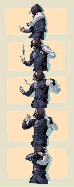 Bucky Barnes in Winter Soldier. This fight scene was badass. Marvel Memes, Marvel Dc Comics, Marvel Avengers, Sebastian Stan, Logo Super Heros, Daimon Salvatore, Captain America And Bucky, Marvel Wallpaper, Stucky