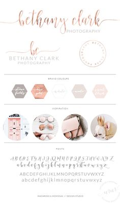 Photography Brand Package / Rose Gold by MacaronsandMimosas Watercolor Logo Design / Custom Logo / Rose Gold Photography Branding Kit… Design Studio Branding Kit, Branding Design, Logo Design, Marketing Branding, Design Shop, Business Branding, Studio Design, Marketing Ideas, Brand Identity