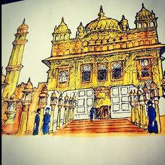 The artist's canvas nice and creatively made Sri Harmandir Sahib Ji artwork by Parneet Kaur a graduate in French pastry ( Props! Temple Drawing, Harmandir Sahib, Indian Aesthetic, Golden Temple, Gods And Goddesses, Artist Canvas, Mandala Art, Religion, Dev Ji