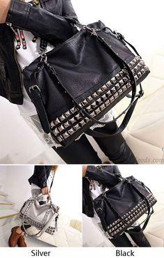 Fashion Rivets Women Leather Shoulder Bag Punk Square Rivet Handbag for big  sale !  rivet f85263d7ef
