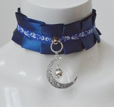 Made to Order - Kittenplay collar - Moonlight sonata - kitten pet play wiccan wicca witch lolita darkblue choker gothic goth necklace collar Cosplay Outfits, Anime Outfits, Mode Outfits, Fashion Outfits, Fantasy Jewelry, Gothic Jewelry, Gothic Chokers, Gothic Clothing, Kawaii Fashion