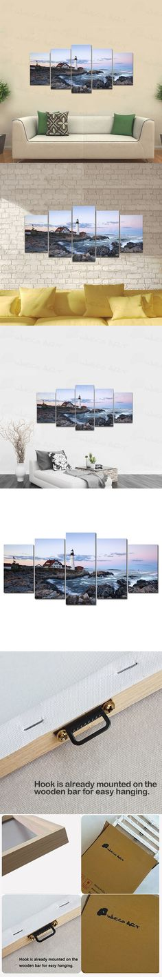 Lighthouse Modern 5 Piece Framed Canvas Prints Sea Beach Seascape Pictures Paintings on Canvas Wall Art Ready to Hang Home Decor $49.9  #prints #printable #painting #canvas #empireprints #teepeat