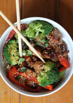 Sesame Chicken Stir-Fry with Coconut-Ginger Brown Rice + Crushed Cashews from @Monique Volz | Ambitious Kitchen