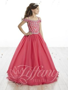 Tiffany Princess 13515 Pomegranate Open Shoulder Girl Pageant Dress