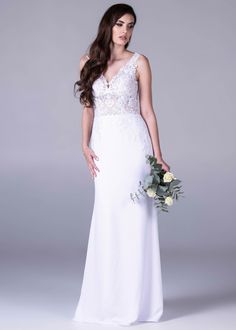 Viola Chan wedding dress, Crepe/lace mermaid dress with statement train.