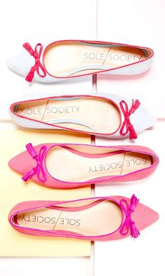 Luxurious suede & nubuck ballet flats with a pointed toe, yellow contrast piping and charming tassel bow at front toe.