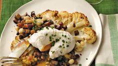 "Anne Burrell's Cauliflower ""Steaks"" with Sautéed Porcini & A Poached Egg"