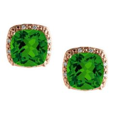 Cushion Cut Emerald May Gemstone Rose Gold Diamond Earrings Gemologica.com offers a unique and simple selection of handmade fashion and fine jewelry for men, woman and children to make a statement. We offer earrings, bracelets, necklaces, pendants, rings and accessories with gemstones, diamonds and birthstones available in Sterling Silver, 10K, 14K and 18K yellow, rose and white gold, titanium and silver metal. Shop Gemologica jewellery now for cool cute design ideas: gemologica.com